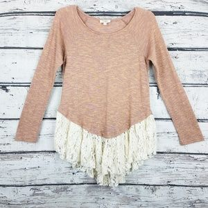 Anthropologie Umgee lace bottom pink sweater A1644